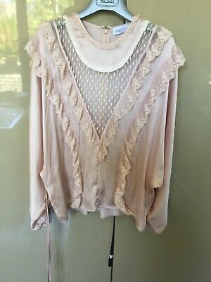 AU45 • Buy Amazing Alice McCall Lace Trimmed Balloon Sleeve Pink Silk Blouse Size 10 New