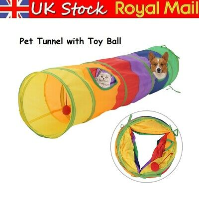 £8.19 • Buy Pet Tunnel Toy Cat Rabbit Pop Up Tube Collapsible 2 Way Puppy Kitten Play Toy UK