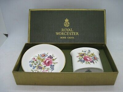 Vintage Royal Worcester Gift Set Pin Dish And Pot Set - Hand Painted - Boxed • 4.99£