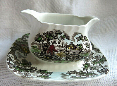 £16.99 • Buy The Hunter Myott Double Spouted Gravy Sauce Boat On Fused Stand Plate England