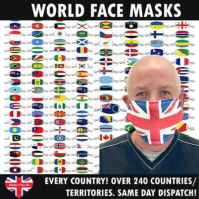 £5.99 • Buy Country Flag Face Mask Reusable Washable Breathable World Flags Handmade Lot