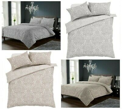 £14.99 • Buy New Traditional Chantilly Reversible Damask Duvet Quilt Cover & Pillowcases Set