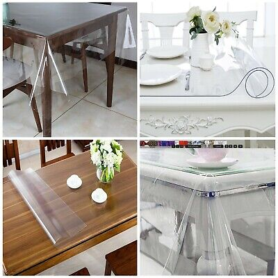£7.99 • Buy Plastic PVC Fabric Clear Table Cloth 54  Table Protector 0.23mm Thick Per Metre
