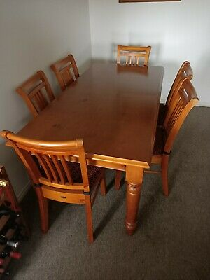 AU350 • Buy Timber Dining Table And Six Chairs