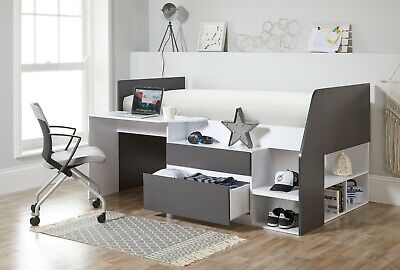 £499.99 • Buy Children's Grey White Kids Cabin Bed With Desk Bedroom Drawers Furniture