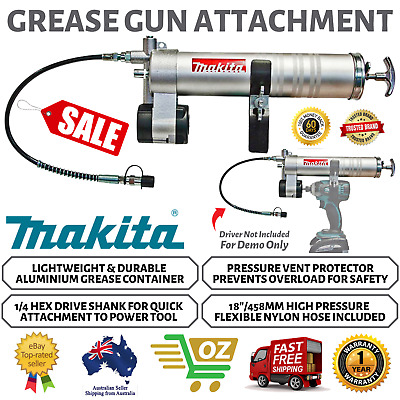 AU171.13 • Buy Makita Grease Gun Attachment Cordless Pistol Coupler Air Tool Suits Drill Driver
