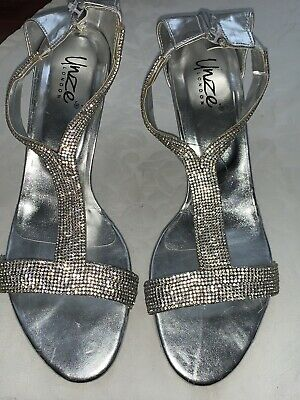 Womens Unze Low Heel Bridal Evening Silver Diamond Peep Toe Shoes Sandals Size 6 • 20£