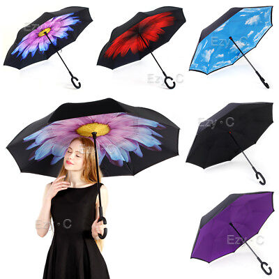 AU18.78 • Buy Windproof Upside Down Reverse Umbrella C-Handle Double Layer Inside-Out Inverted