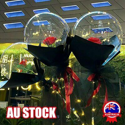 AU13.66 • Buy LED Luminous Balloon Rose Bouquet Transparent Bobo Ball Rose Valentines Day Gift