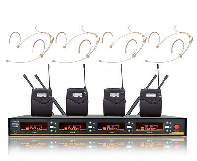 Pro Wireless Microphone System 4-Channel UHF Cordless Headset Mic Set Beige Mike • 232.80£