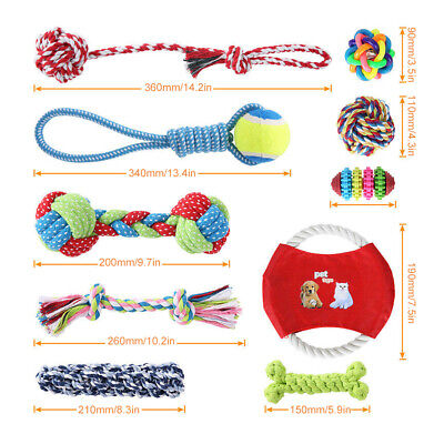 AU11.95 • Buy 10PC Dog Braided Rope Toys Pet Puppy Chew Bite Toy Gift Tough Cotton Clean Teeth