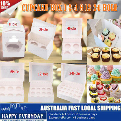AU16.98 • Buy Cupcake Box 1 Hole 2 Hole 4 Hole 6 Hole 12 Hole 24 Hole Christmas Gift Party AU