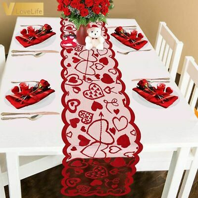 £6.99 • Buy Valentines Day Table Cloth Red Heart Print Decorations Red Lace Wedding 33x183cm