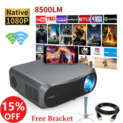 AU605.99 • Buy 8500Lumen Native 1080P LED Projector 4K Video Android 6.0 WiFi HDMI USB Home Use