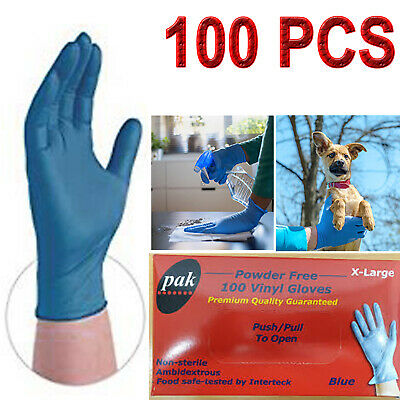 AU21 • Buy 100pcs Vinyl Blue Gloves Disposable Powder Free Latex Free Gloves XL