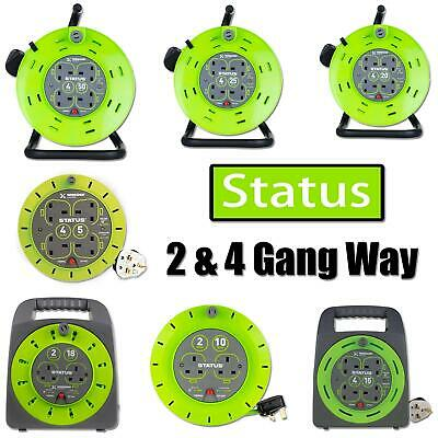 Extension Cable Reel Green 13Amp 2/4 Way Gang Sockets Plug Garden Tools Lighting • 25.99£