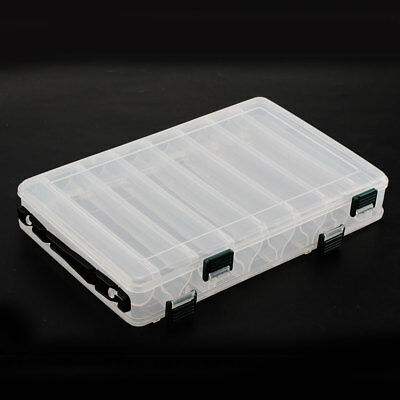 New 14 Plastic Compartments Solid Fish Lure Box Two-Sided Large Storage • 7.49£
