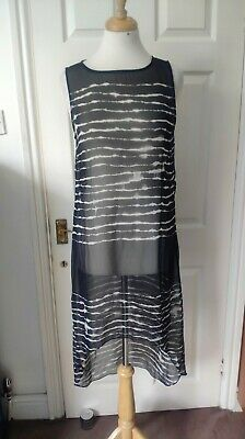 Zara See Through Sheer High Low Black White Pattern Shift Dress Size XS *VGC* • 7.96£