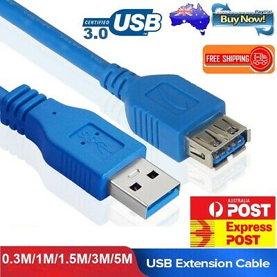 AU8.99 • Buy USB 3.0 A Male To Female Extension Extender Cable Cord M/F Standard Type Blue