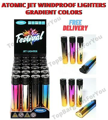 £7.98 • Buy Atomic Festival Lighters Shiny Gradient Windproof Design Gas Lighter Refillable