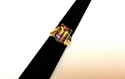 £283.19 • Buy 14k Yellow Gold Large Emerald-Cut Ametrine Ring Size 7 - STUNNING - MUST SEE
