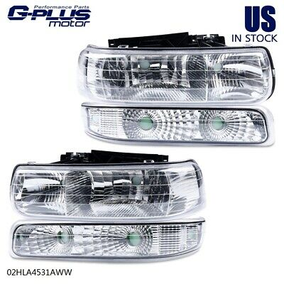 $66.52 • Buy For 99-02 Chevy Silverado Clear Lens Chrome Housing Headlight Lamps Bumper Lamps