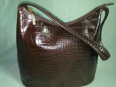 VIYELLA Genuine Leather Brown Croc Shoulder Bag Hand Made In Italy, NEW • 25£