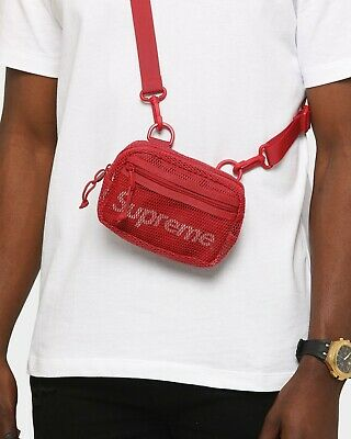 $ CDN125 • Buy SUPREME Bag SS20 Red Mesh Side Shoulder Small Crossbody Pouch Authentic