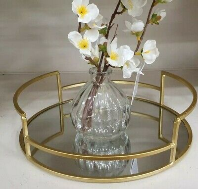 £16 • Buy 25cm Round Gold Mirror Tray Candle Plate Wedding Table  Perfume Mirror Tray