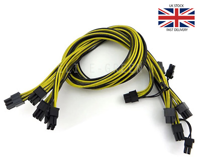 4 X 6pin To 8pin (6+2) PCIe 60CM Extended Power Cable For Mining / SLI / ATI • 19.99£