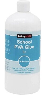 School PVA Glue 1L 1 Litre Adhesive Craft Clear Hobbycraft Glazing Art Permanent • 6.99£