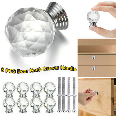 8PCS Diamond Clear Crystal Door Knobs For Drawer Cabinet Kitchen Wardrobe Handle • 9.35£