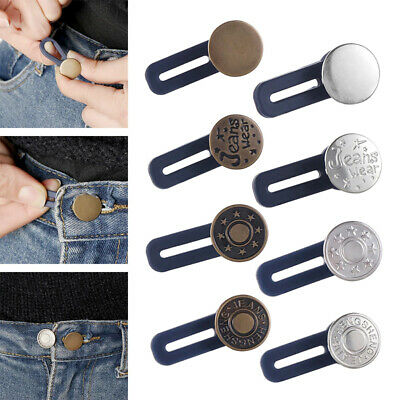 £2.29 • Buy 5pcs Adjustable Jeans Waist Button Metal Extended Buckle Pant Waistband Expander