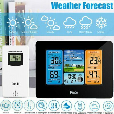 NEW Weather Station Barometer Thermometer Hygrometer Wireless Sensor Alarm Clock • 25.98£