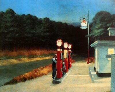 £19.99 • Buy EDWARD HOPPER GAS WALL COVERING 30x20 Inch Canvas Framed READY TO HANG UK SELLER