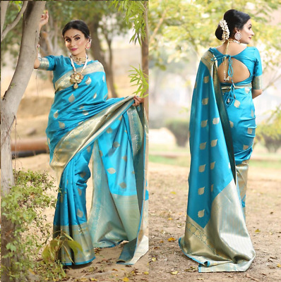 Indian Kanchipuram Silk Saree Pakistani Designer Ethnic Formal Party Blue Sari • 22.99£
