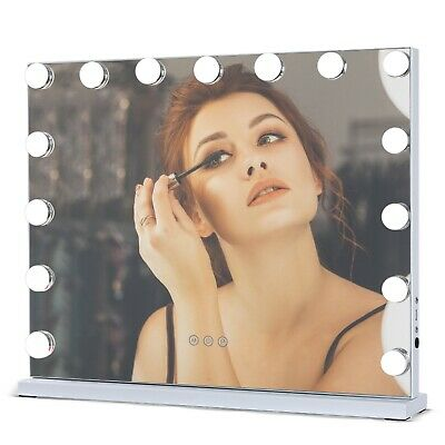 Tabletop Hollywood Vanity Makeup Mirror With 15 Dimmable LED Bulbs Lights White • 99.99£