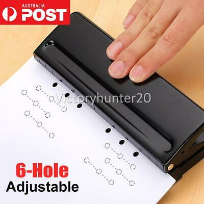 AU24.98 • Buy Adjustable 6-Hole Punch Loose-Leaf Puncher Paper Stapler For Home Office Tool AU