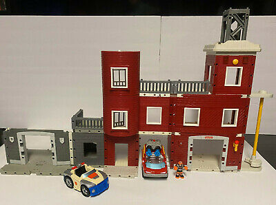 Imaginext Police And Fire Station + Micro Adventure Rescue Heroes Fire Truck Car • 14.47£