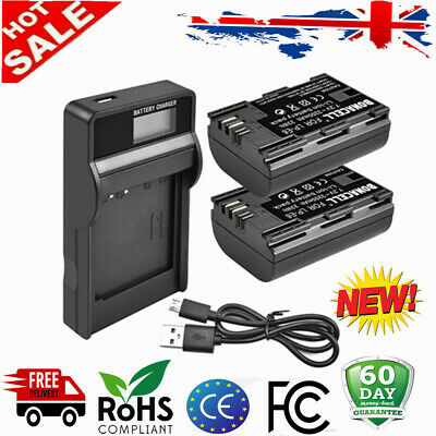 2X  LP-E6 Rechargeable Battery+ LCD Charger For Canon EOS 60D 7D 7D II 5D II III • 18.59£