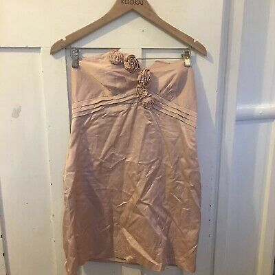 AU13.40 • Buy Forever New Strapless Dress Pink Salmon Size 12 Pleats Roses Fabric