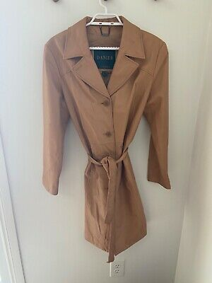 $ CDN89 • Buy Danier Leather Tanned Trench Jacket **amazing Condition