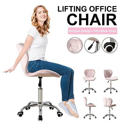 Cushioned Computer Desk Office Chair Chrome Legs Lift Swivel Small Adjustable • 59.99£
