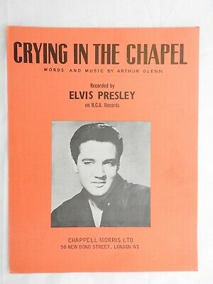 Crying In The Chapel - Elvis Presley Sheet Music Piano Vocal  Photo Cover 1953 • 5.99£