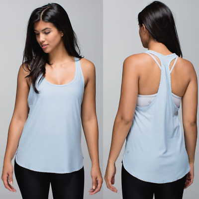 $ CDN15 • Buy Lululemon Blue Striped Seriously Light Luon 105 F Singlet Tank | Women's 6