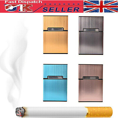 Aluminum Cigarette Case Tobacco Holder Pocket Box Container For 20 Cigarettes UK • 6.45£