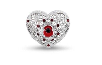 £9.99 • Buy Popppy Pin Badge Filigree White Gold Brooch - Charity: Help For Heroes