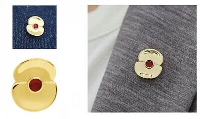 £7.99 • Buy Centenary Gold Plated Popppy Pin Badge - Charity: Help For Heroes