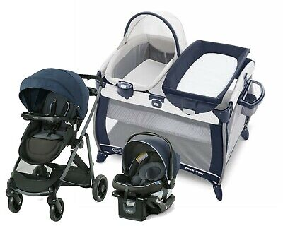 Baby Stroller Travel System With Car Seat Playard Graco Modes Element Blue • 455.14£