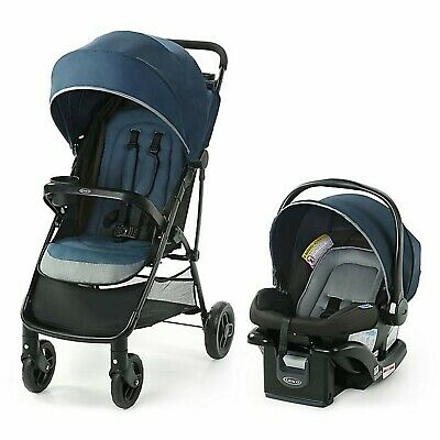 Graco Lightweight Baby Stroller Travel System With Car Seat Combo Blue • 141.10£